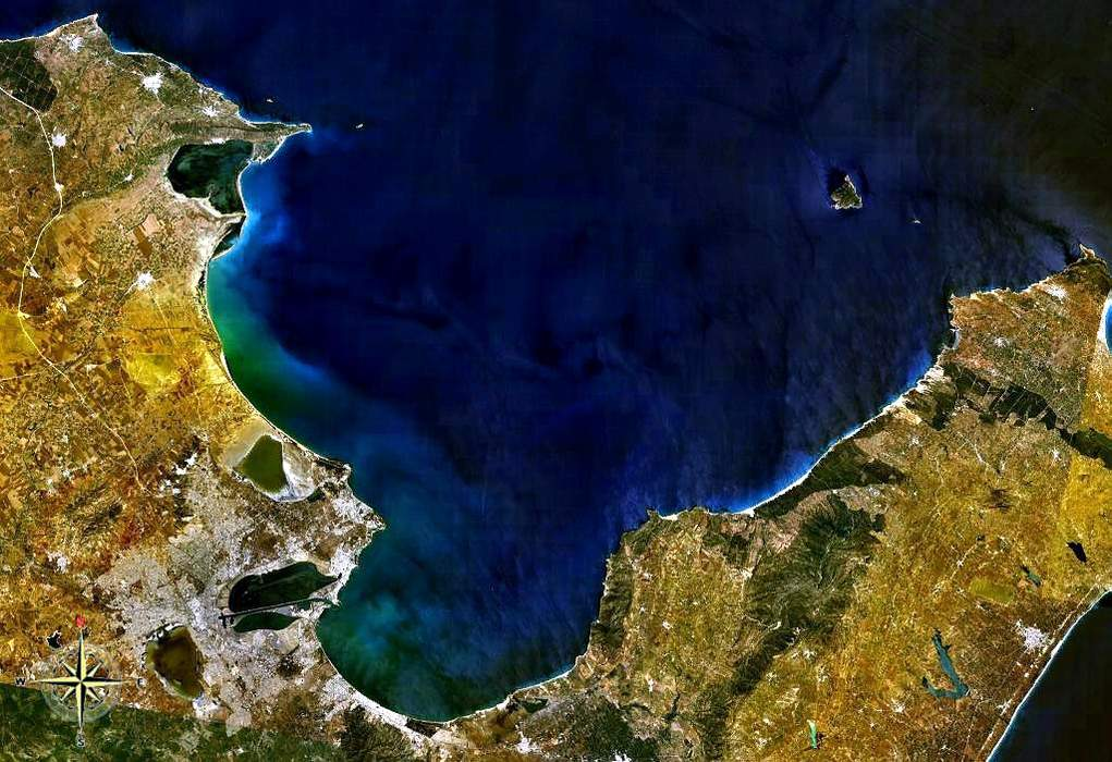 Gulf: A large inlet from the ocean into the landmass